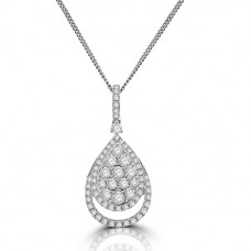 18ct White Gold Pave Diamond Pear Cluster Pendant