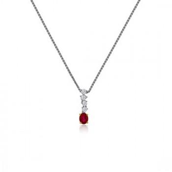 18ct White Gold Ruby & Diamond Drop 16