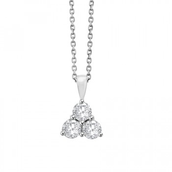18ct White Gold 3-stone Diamond Cluster Pendant