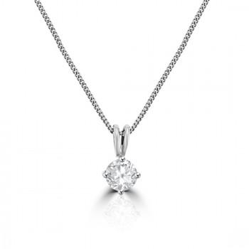 18ct White Gold .62ct Diamond Solitaire Pendant