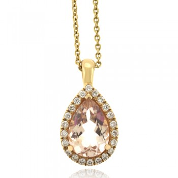 18ct Rose Gold Morganite & Diamond Pendant Chain