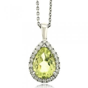 18ct White Gold Lime Quartz Diamond Halo Pendant Chain