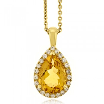 18ct Gold Citrine & Diamond Pendant Chain