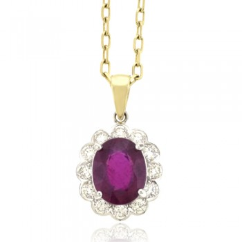 18ct Gold 13-stone Oval Ruby & Diamond Cluster Pendant