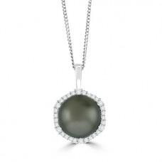 18ct White Gold Tahitian Pearl & Diamond Pendant