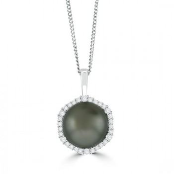 18ct White Gold Tahitian Pearl & Diamond Pendant