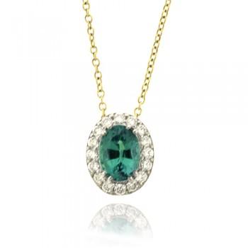 18ct Gold Emerald & Diamond Halo Pendant Chain