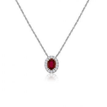 18ct White Gold Oval Ruby Diamond Halo Pendant Chain