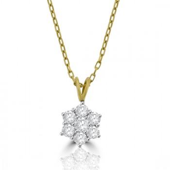 18ct Gold .80ct Diamond Flower Cluster Pendant