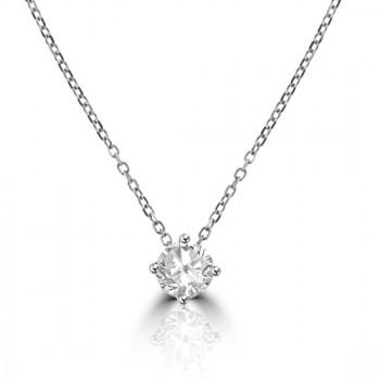 18ct White Gold .56ct Diamond Solitaire Pendant Chain