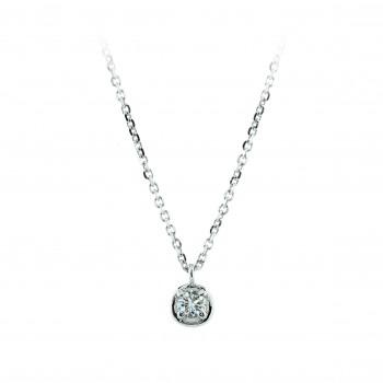 18ct White Gold Solitaire Diamond Bertani Pendant Chain