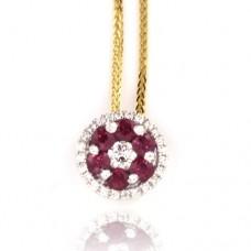 18ct Gold Ruby & Diamond Cluster Pendant Chain