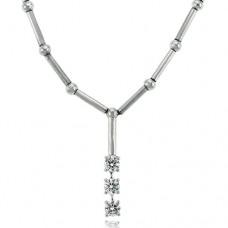 18ct White Gold Diamond Trilogy Pendant Chain