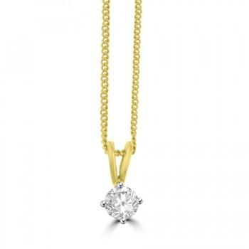 18ct Gold Solitaire .30ct Diamond Pendant