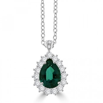 18ct White Gold Pear cut Emerald & Diamond Cluster Pendant