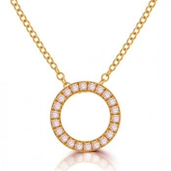 18ct Rose Gold Diamond Hoop Pendant