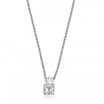 18ct White Gold Asscher Diamond Pendant Chain