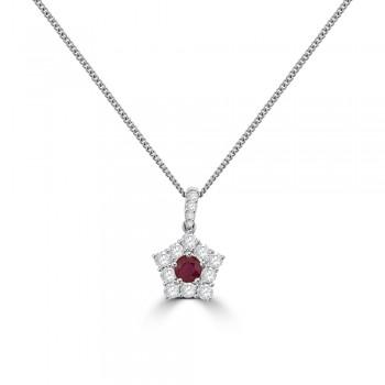 18ct White Gold Ruby & Diamond Star Pendant