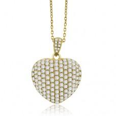 18ct Gold Pave set Diamond Heart Pendant
