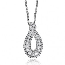 18ct White Gold Diamond Swirl Pendant