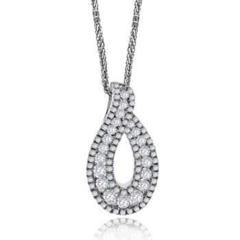 18ct White Gold Diamond Swirl Pendant