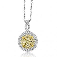 18ct White Gold Yellow Diamond Halo Cluster Pendant
