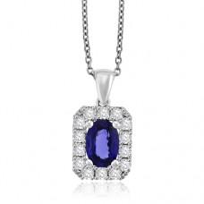 18ct White Gold Sapphire & Diamond Halo Pendant Chain