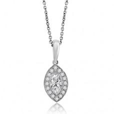 18ct White Gold Marquise Diamond Halo Pendant