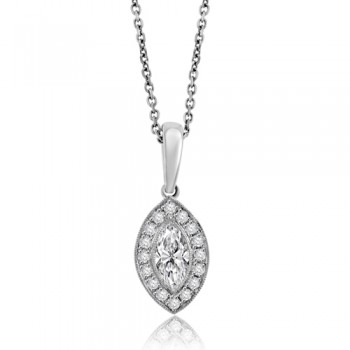 18ct White Gold Marquise Diamond Halo Pendant