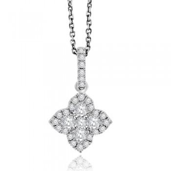 18ct White Gold Diamond Clover Halo Pendant