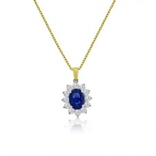 18ct Gold Oval Sapphire Diamond Cluster 16
