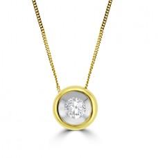 18ct Gold .20ct Diamond Full Moon Pendant