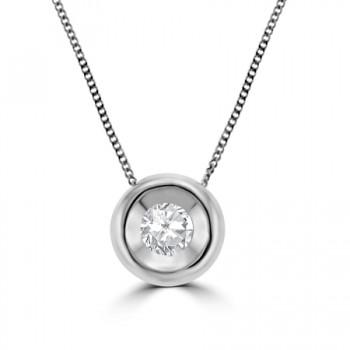 18ct White Gold .20ct Diamond Full Moon Pendant