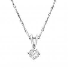 18ct White Gold Solitaire .33ct Diamond Pendant