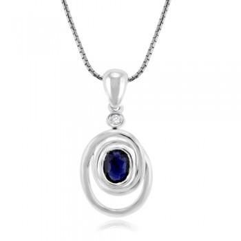 9ct White Gold Sapphire & Diamond Abstract Pendant