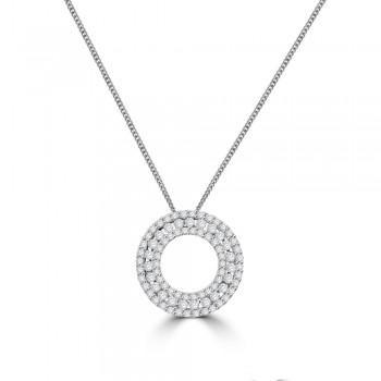18ct White Gold 3-Row Diamond Circle of Life Pendant