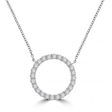 18ct White Gold Circle of Diamond Pendant Chain