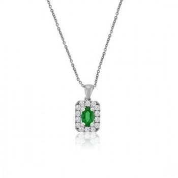 18ct White Gold Emerald & Cushion Diamond Halo Pendant Chain