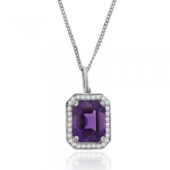 18ct White Gold Emerald cut Amethyst Diamond Halo Pendant