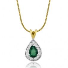 18ct Gold Emerald & Diamond Pear shaped Pendant