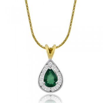 18ct Gold Emerald & Diamond Pear shaped Pendant