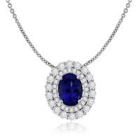 18ct White Gold Tanzanite & Diamond Oval Cluster Pendant Ring