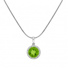 18ct White Gold Peridot Diamond Halo Pendant