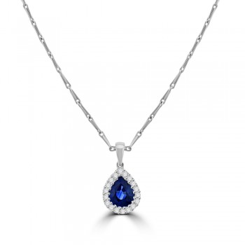 18ct White Gold Pear Sapphire Diamond Halo Pendant