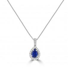 18ct White Gold Pear Sapphire Diamond Halo Pendant Chain