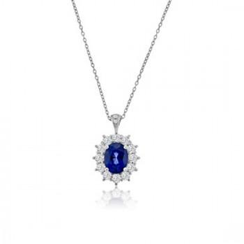 18ct White Gold Sapphire & Diamond Oval Cluster Pendant Chain