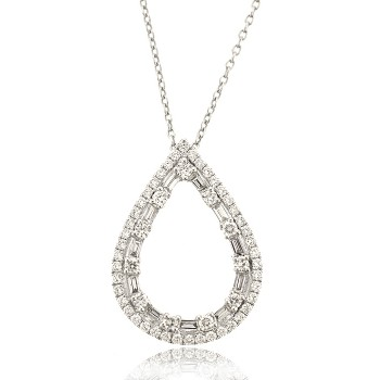 18ct White Gold Brilliant & Baguette Diamond Open Pear pendant