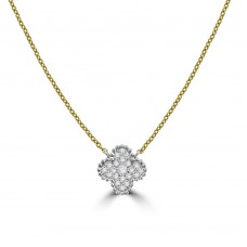 18ct Gold Diamond Clover Pendant Chain
