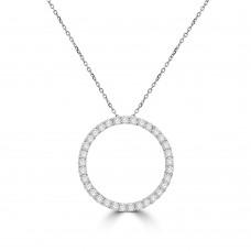 18ct White Gold 1.00ct Diamond Circle of Life Pendant Chain