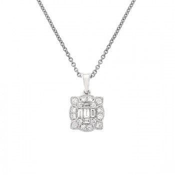 18ct White Gold Baguette Diamond Vintage Pendant